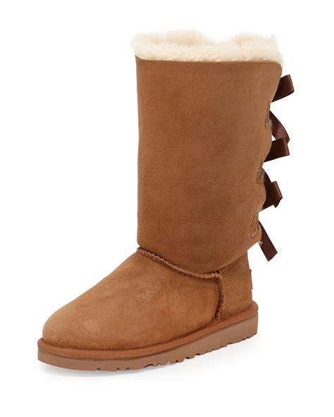 with ugg boots lyst ugg bailey bow detailed sheepskin boots in brown