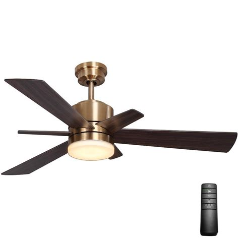 gold ceiling fan with light home decorators collection hexton 52 in led indoor