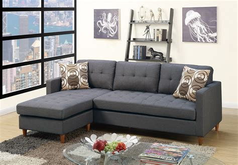 pomona sofa poundex bobkona f7094 blue grey retro tufted reversible