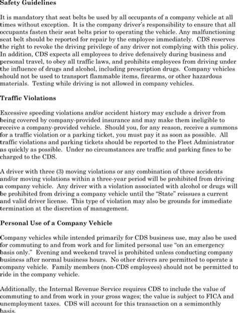 vehicle policy template company car policy template for free page 2