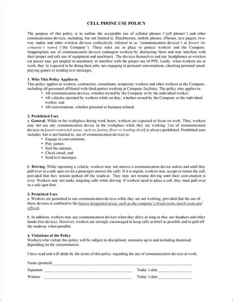 policy agreement template printable sle cell phone policy form laywers template