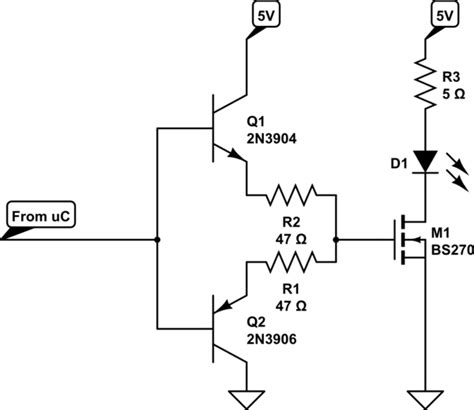 transistor mosfet gate driver circuit microcontroller incapable of driving mosfet electrical engineering stack exchange