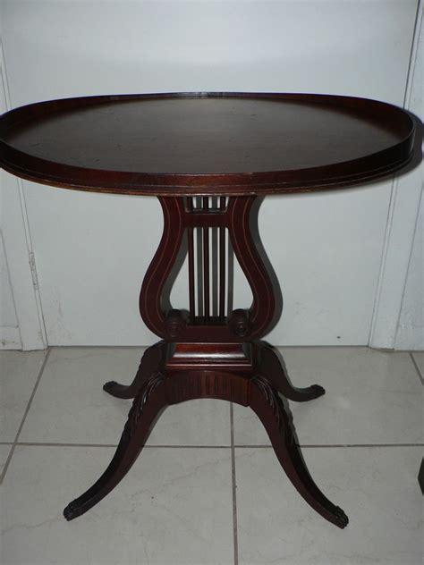 Table L Harp by Antique Vintage Mersman Mohogany Sofa L Table