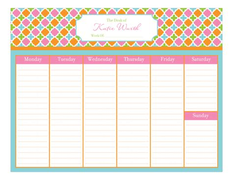 Design Weekly Calendar | polka dot design preppy weekly calendar pad