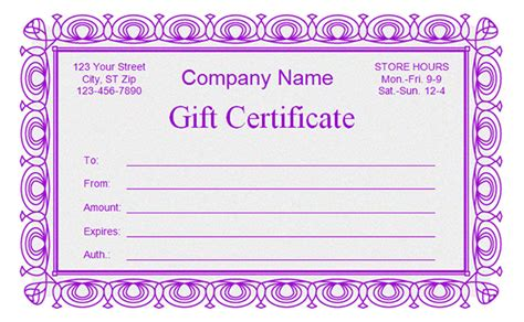 purple certificate template printable gift certificate templates sleprintable