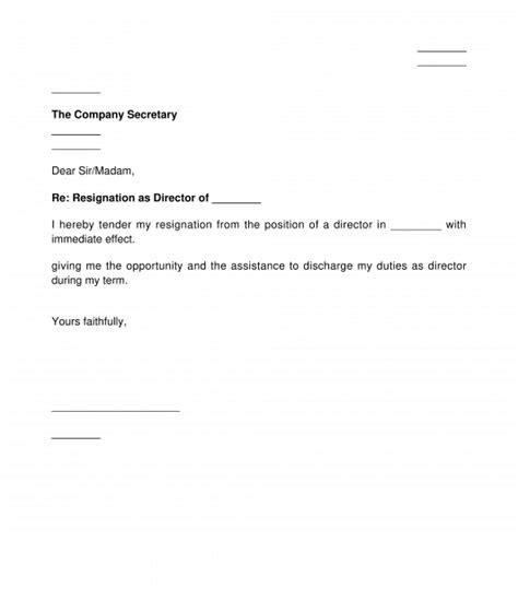 resignation letter company director template