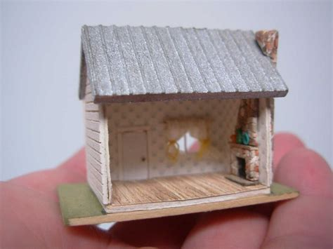 artisan unsigned dollhouse miniature tiny house  stone