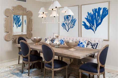 navy and white dining room tropical dining room