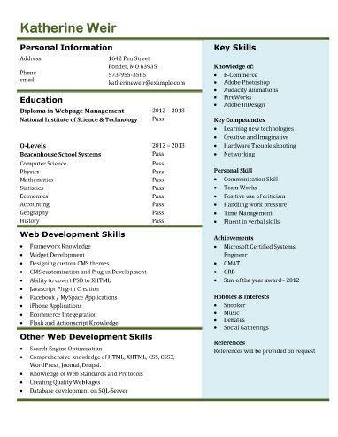 web developer resume free resume templates microsoft