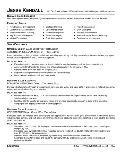sales executive resume template sle resume cover