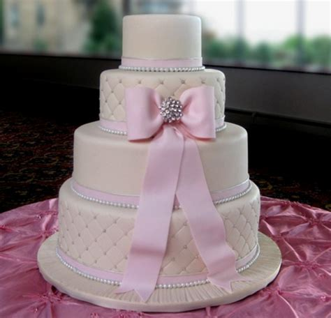 Engagement Cakes Pictures by Four Tiers Engagement Cake With Big Pink Bow And