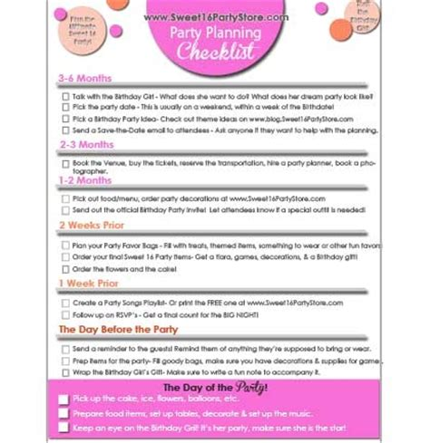 printable games for sweet 16 party free sweet 16 party checklist sweet 16 party store