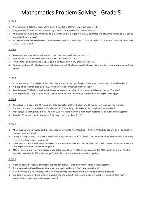 Grade 3 Math Problem Solving Worksheets by Maths Problem Solving Worksheets Year 6 Simple Math Word