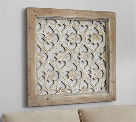 wooden wall decor hempstead carved wood wall art panel pottery barn