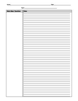 Template Two Column Notes 2 Page By Electric English Tpt Two Column Notes Template