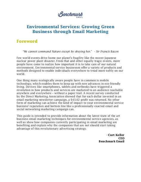 Introduction Letter Marketing Company Email Marketing For Environmental Services
