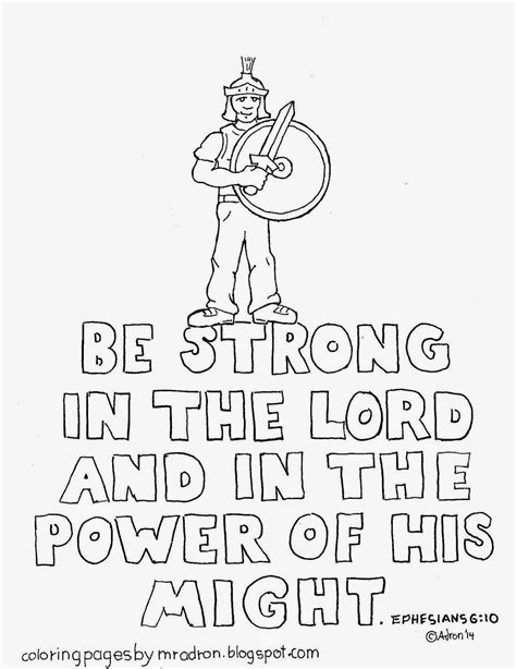 strong sheets coloring pages for kids by mr adron ephesians 6 10 be