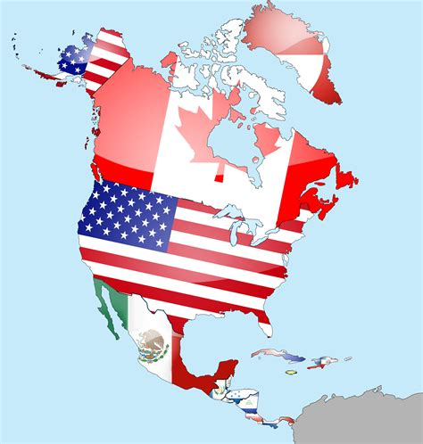 North America Map With Flags | north america world geography