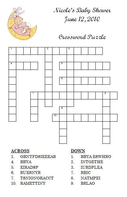 Baby Shower Crossword by Personalized Crossword Puzzle Baby Shower By
