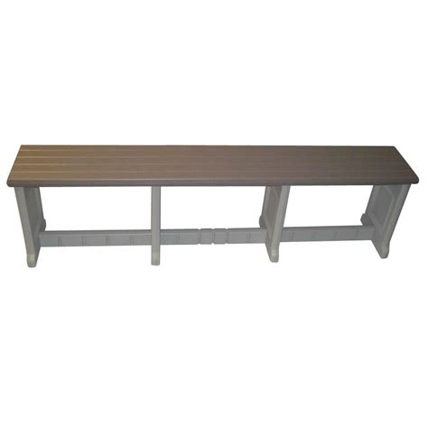 resin benches leisure accents 74 in taupe resin patio bench lapb74 t