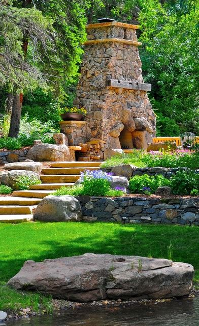 Mountain Hearth And Patio Evergreen Evergreen Mountain Retreat Traditional Landscape