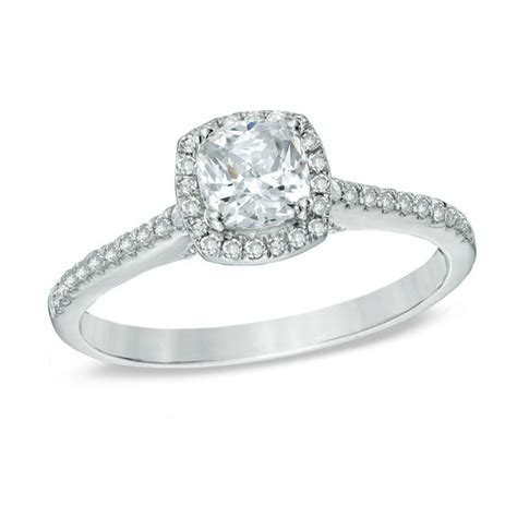 1 ct t w cushion cut frame engagement ring in