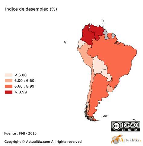 tasa de desempleo en latinoamerica 2016 am 233 rica del sur mapa tasa de desempleo 2016