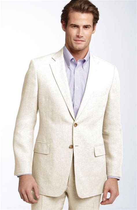 2015 Summer Ivory Linen Men Suits Notched Lapel Tuxedos Beach Wedding Suits For Men Two Button
