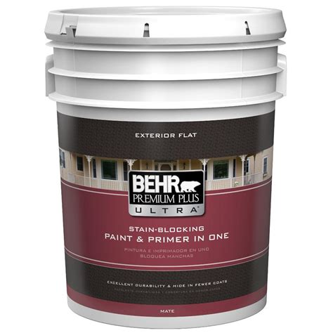 behr premium plus ultra 5 gal base flat low voc exterior paint 485305 the home depot