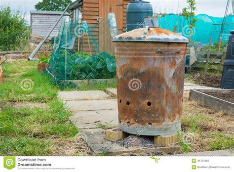 backyard incinerator outdoor incinerator for allotment or garden stock photo