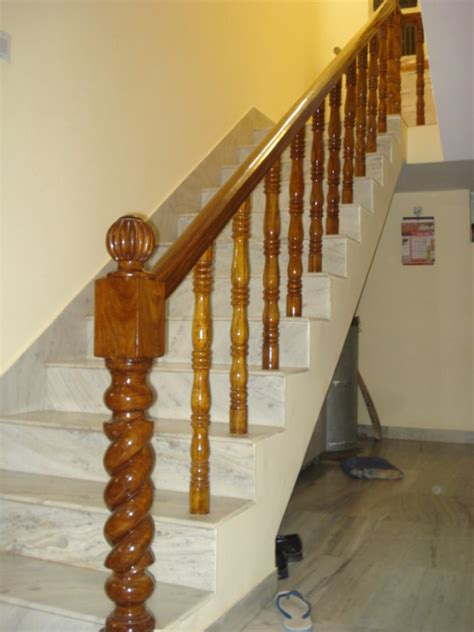 Wooden Staircase Handrails brown belly wooden stair railings in indl area ph 2 panchkula haryana india shree wood