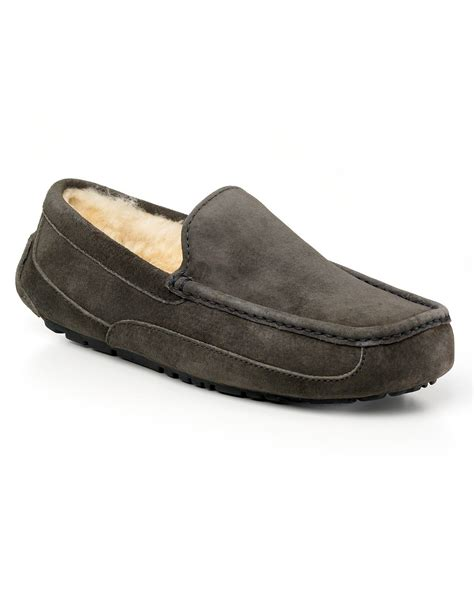 ugg house shoes for men ugg australia men s ascot slippers in gray for men lyst