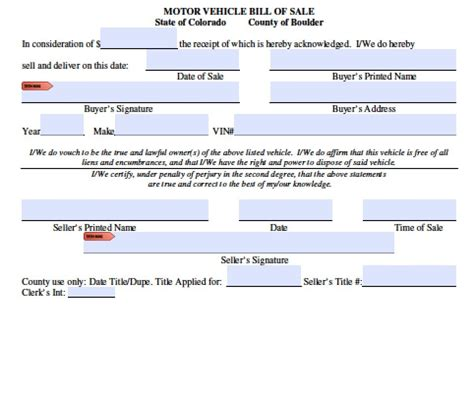 free colorado boat trailer bill of sale form pdf word