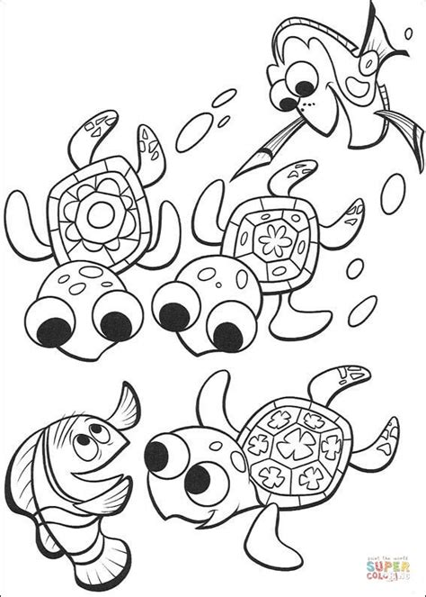 cute nemo coloring pages nemo dory and three cute turtles coloring page free