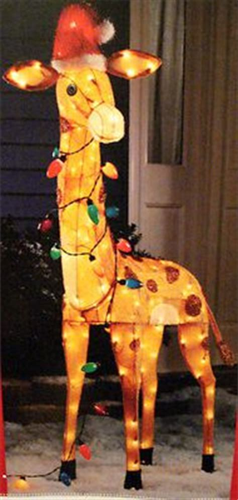 christmas lighted 52 quot tall giraffe tinsel yard decoration