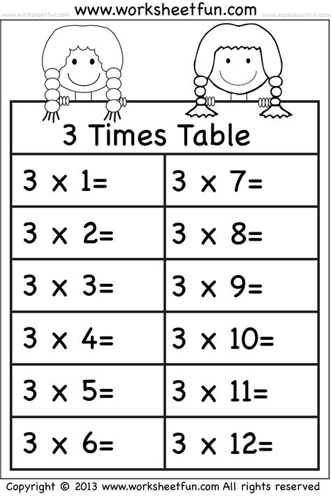 3 Time Tables by Times Tables Worksheets 2 3 4 5 6 7 8 9 10 11 And 12 Eleven Worksheets Free