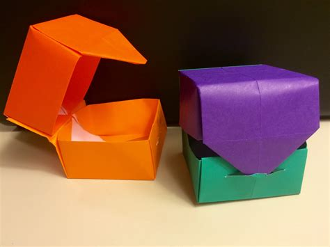 Origami Box Lid - origami quot hinged quot box with lid and easy for