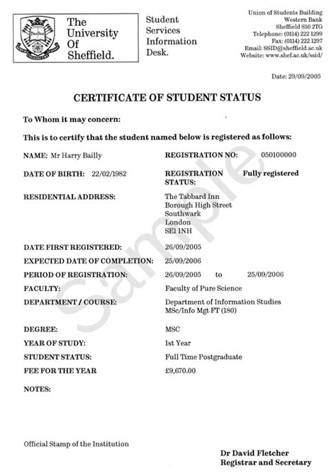address certification letter format exle term time address certificate of student status