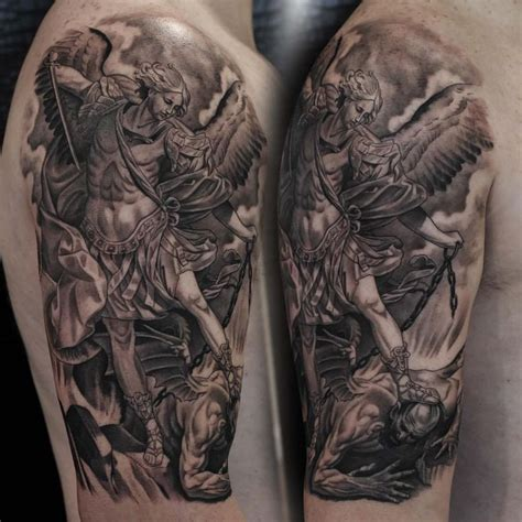 michael archangel tattoo st michael black and grey realism