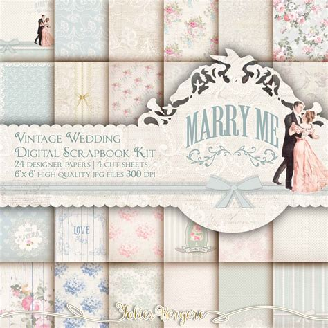 wedding paper wedding scrapbook paper kit wedding digital paper pack