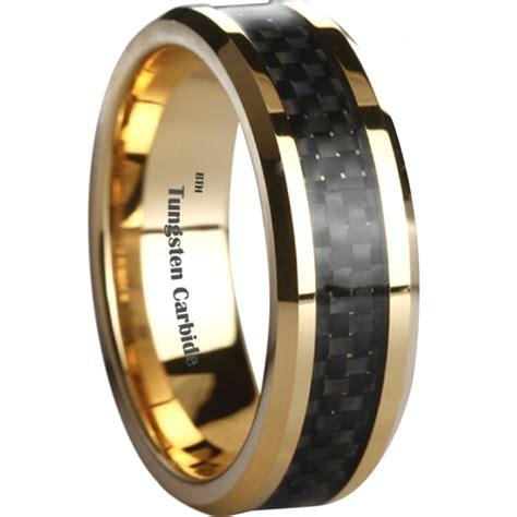 Tungsten Carbide Ring Wedding by Black Carbon Inlay Gold Tone Tungsten Wedding Engagement