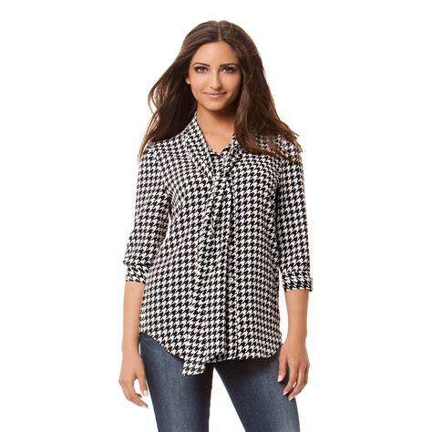 Blouse Houndstooth kollection s bow blouse houndstooth check