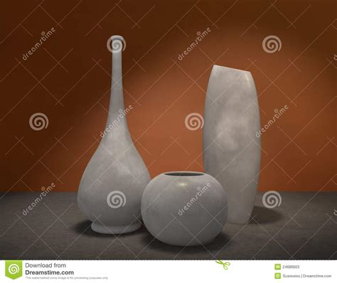 Glazed Pottery Vases Set Of Decorative Pottery Vases Stock Photos Image 24686603