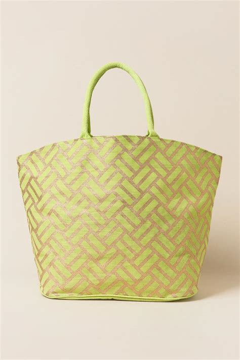 Jayla Bag by Jayla Lime And Gold Print Tote S