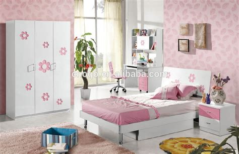 pink children bedroom furniture set with wardrode desk