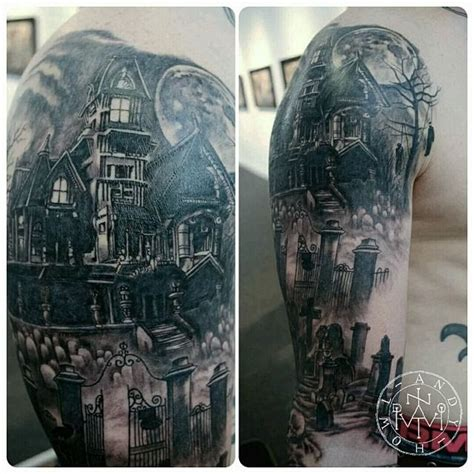 haunted mansion tattoo haunted house hanged grave yard moon