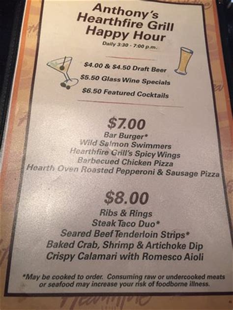 Backyard Grill Happy Hour Menu Happy Hour Menu 2 Picture Of Anthony S Hearthfire Grill