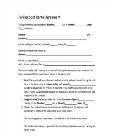 Rental Car Park Agreement Sle Parking Agreement Forms 9 Free Documents In Word