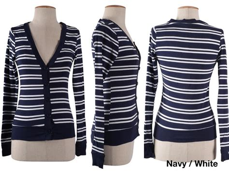 Womens Trendy O Neck Striped Worsted Sweater shop trendy striped sleeve v neck ribbed