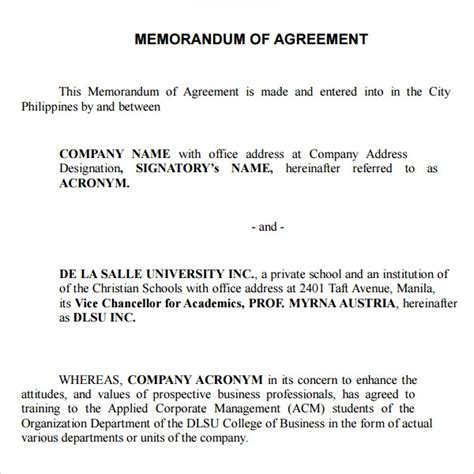 Definition Of Letter Of Agreement Memorandum Of Agreement Between Two Sle Best Template Design Images